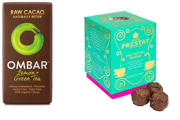 Ombar Raw Cacao Natural Chocolate with green tea Prestat earl grey tea chocolate truffles