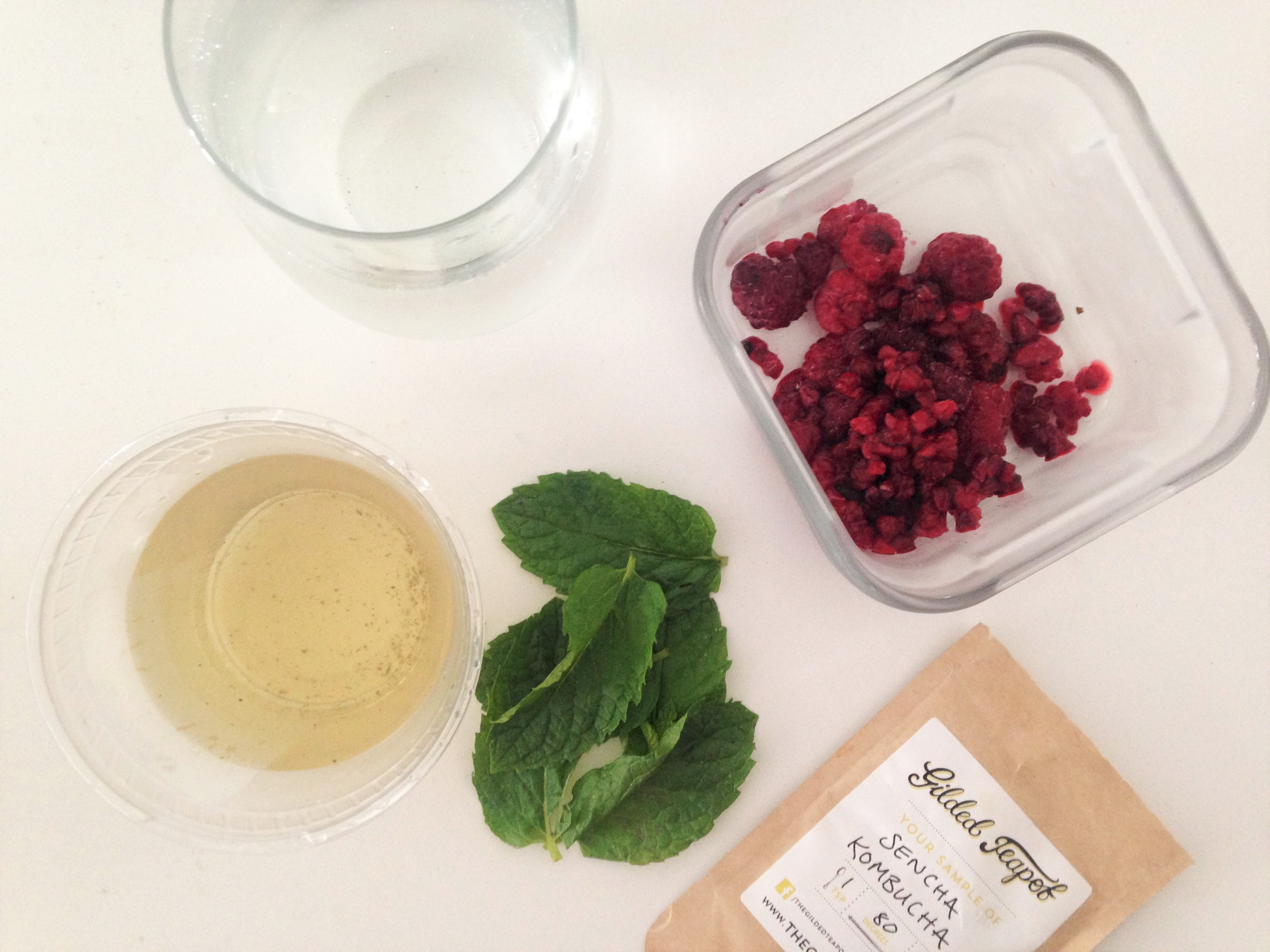 Sencha Kombucha Green Tea | The Gilded Teapot | Raspberry Mint Ice pop Recipe