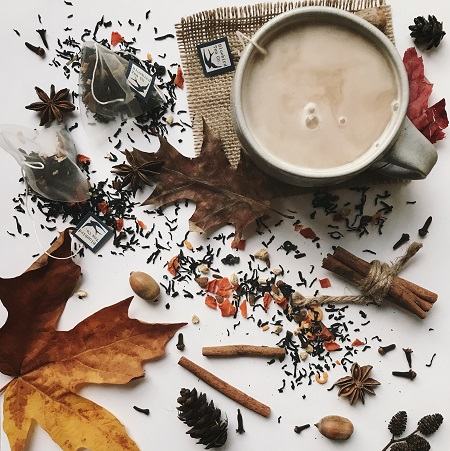 Bird & Blend Tea co Autumn Collection – Spiced Pumpkin Pie latte Black Tea flat lay