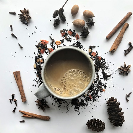 Bluebird Tea co Autumn Collection – Spiced Pumpkin Pie latte Black Tea flat lay